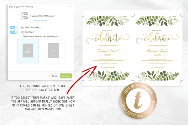 Printable greenery celebration invitation with faux gold calligraphy, easy to customize template | Party invitation ideas