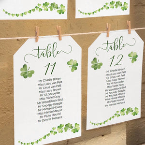 Printable Irish wedding seating chart, individual table plan template
