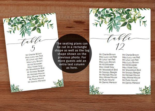 Chic modern greenery wedding seating chart