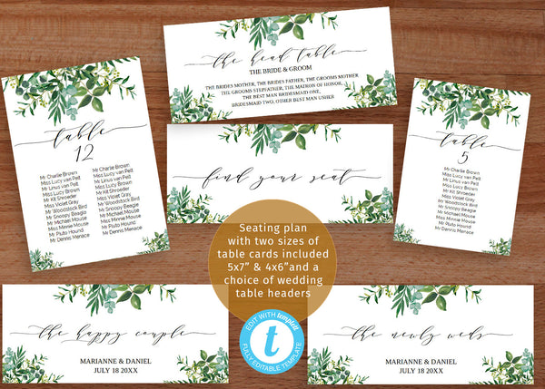 "Modern greenery wedding seating chart set, with printable header seat plan templates | Easily customize ""Table""  to mesa, tavolo, tisch etc"