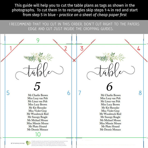 Printable wedding seating chart set, change all text colors, individual table templates