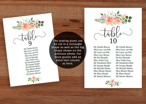 printable DIY Blush pink wedding seating chart