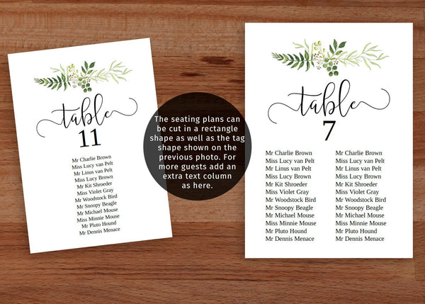 Printable greenery single table seating chart, editable template.
