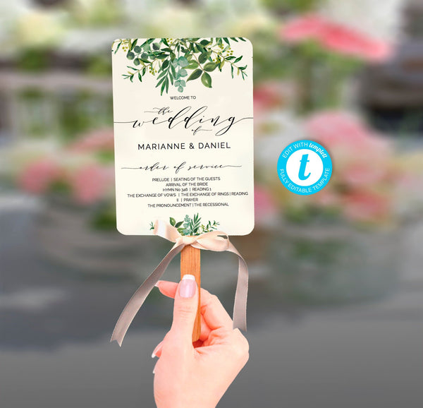 Chic greenery wedding program fan with modern calligraphy, printable order of service template, ceremony & wedding party