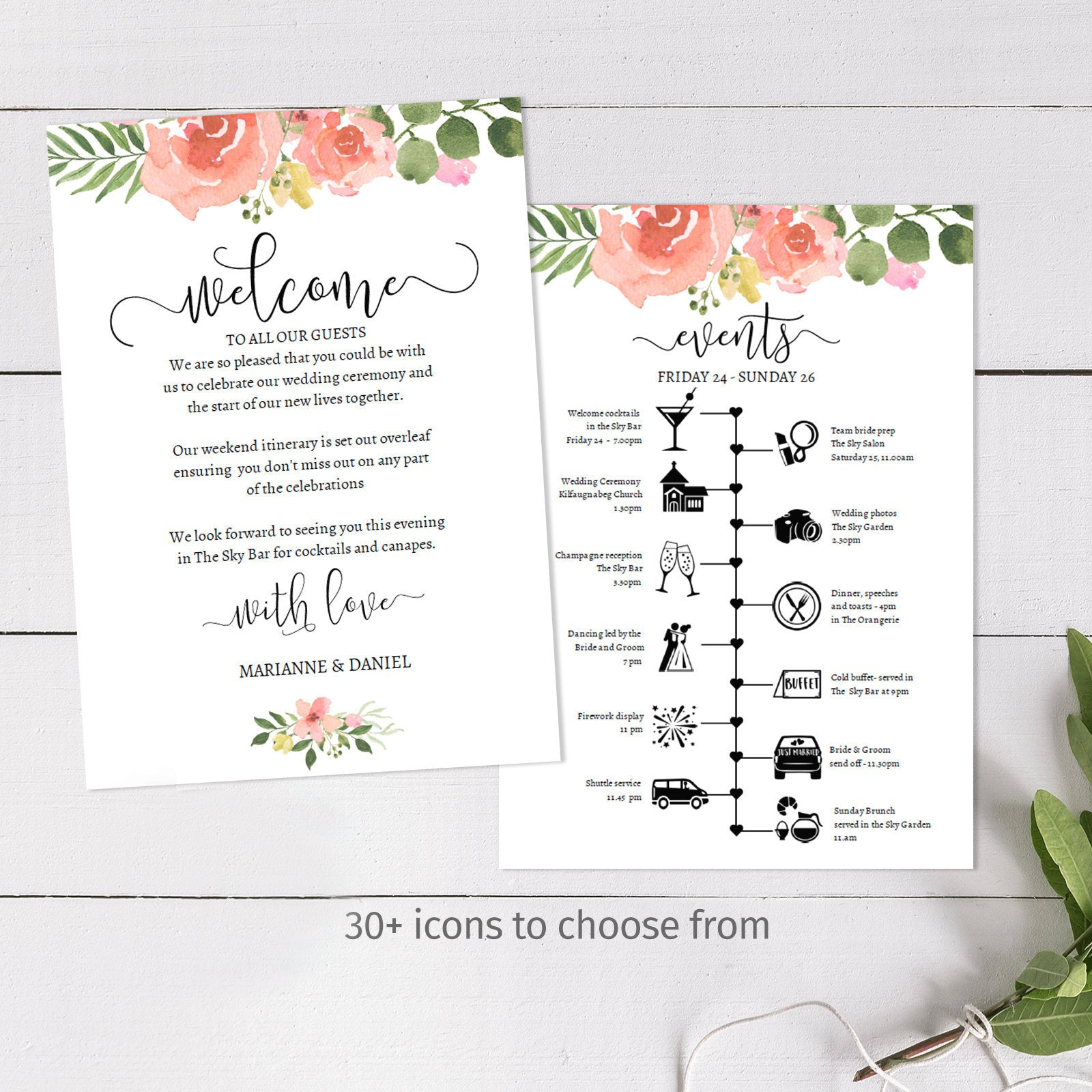 Customizable wedding weekend timeline, pink rose watercolor printable itinerary template, over 30 icons