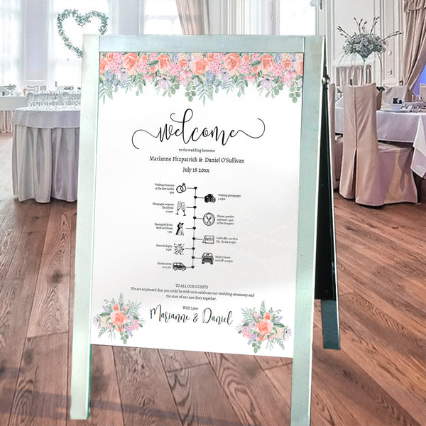 Wedding welcome & timeline printable poster, vintage rose watercolors, guest order of events sign template
