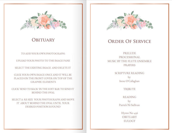Victorian roses printable funeral mass program, obituary template, add photo