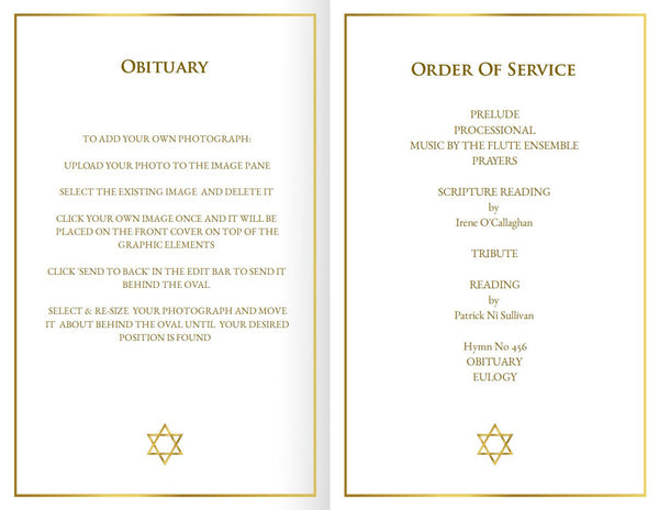 Printable funeral mass program, gold Star of David, folding template