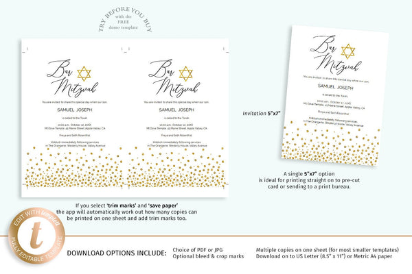 Bar Mitzvah invitation template, printable DIY Jewish boy ceremony card, gold Star Of David with sparkling confetti