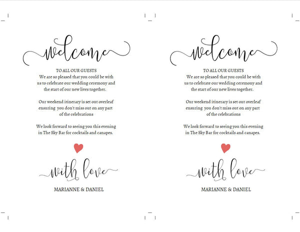 Custom wedding welcome timeline, change color of optional heart, printable weekend itinerary template
