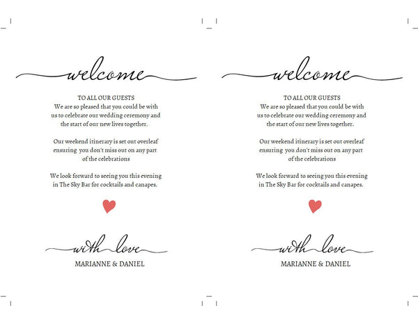 Custom printable wedding welcome timeline, modern font with optional heart, weekend itinerary template