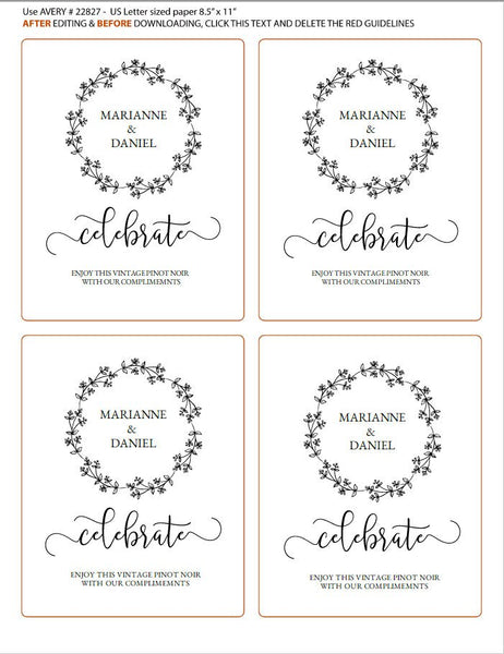 Rustic printable wine label, celebration bottle template, wedding guest wine & champagne editable message | Avery label #22827
