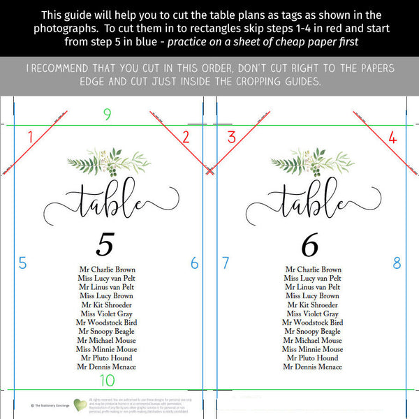 "Chic modern greenery wedding seating chart, printable seat plan template | The word ""table"" is easily customized to mesa, tavolo"