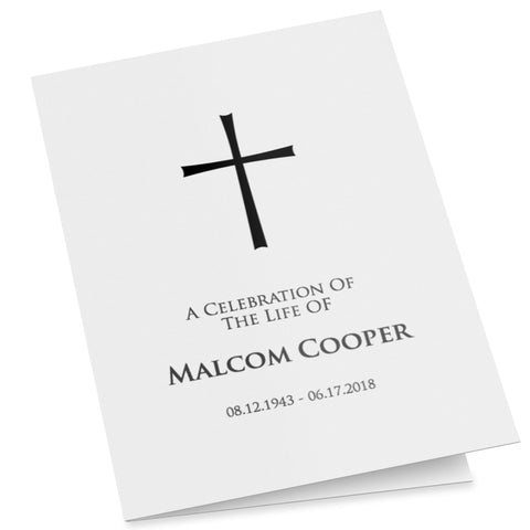 A fully editable funeral program with a simple but elegant cross, easy to customise, folding order of service template