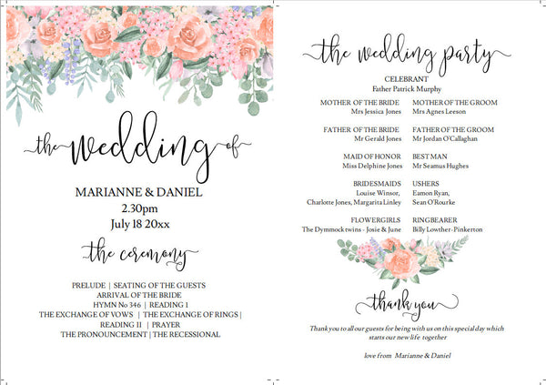 Printable wedding program fan with vintage Victorian roses