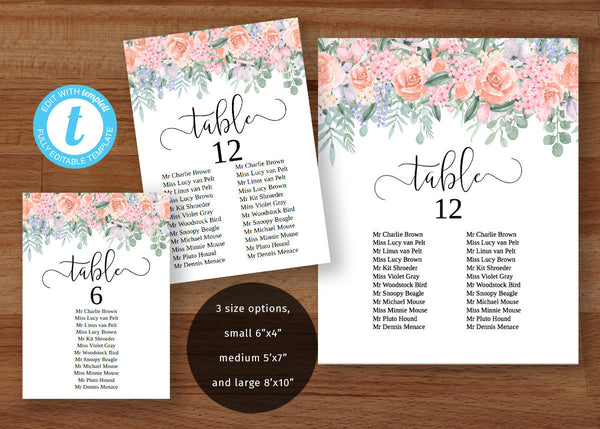 Wedding seating DIY chart set, Victorian pastel pink roses, printable single table plans
