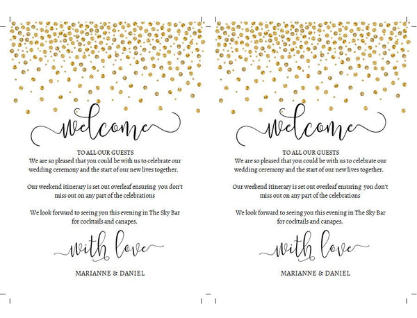Printable wedding weekend timeline, gold confetti itinerary template,  welcome note and event card