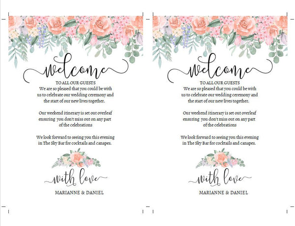 Romantic vintage wedding weekend timeline, printable itinerary template, 30+ icons