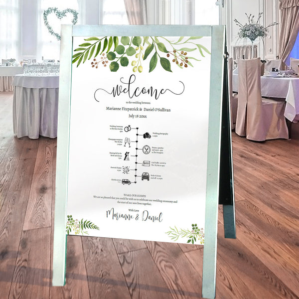 Wedding guest welcome & timeline printable poster, order of events sign template, greenery watercolors