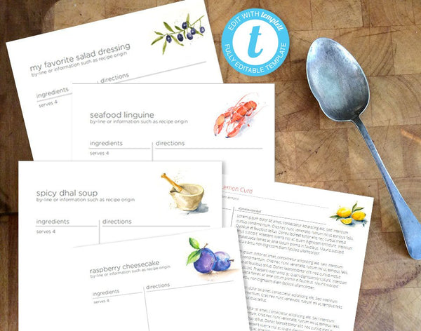 Printable full page recipe binder template, 20 original watercolor food illustrations, edit online in your browser