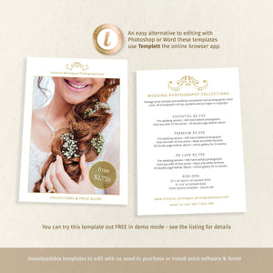 Wedding photographer brochure, price guide, 2 sided 7x5 template