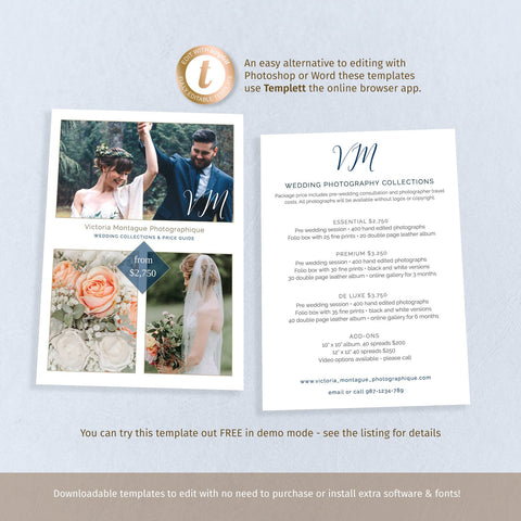 Photography package price guide flyer, DIY wedding business promo marketing card, 2 sided 7x5 template