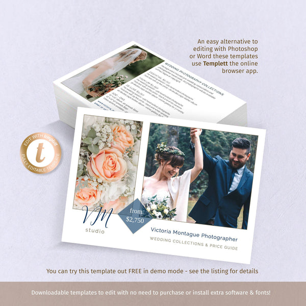 Price guide flyer template, wedding photography business promo marketing card, 2 sided landscape 5x7 template