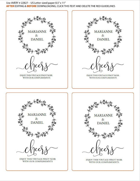 Printable cheers wine label, rustic celebration bottle template, wedding guest champagne editable message | Avery label #22827