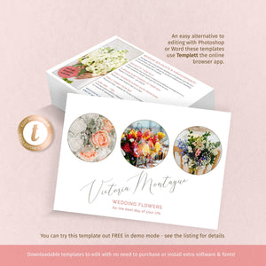 Elegant promotional card, floristry business, 5x7 flyer template