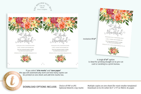 Modern Thanksgiving invitation, watercolor pumpkin illustration, chic font