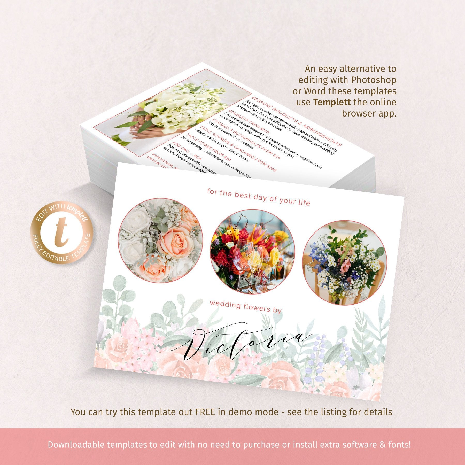 Floristry business promo card, 5x7 flyer template, watercolor rose garland