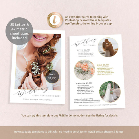 Photographer full page price guide flyer, wedding business promo, 2 sided printable template