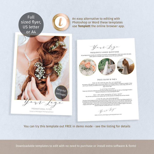 Photographers full page FAQ flyer, wedding business promo, 1 or 2 sided printable template