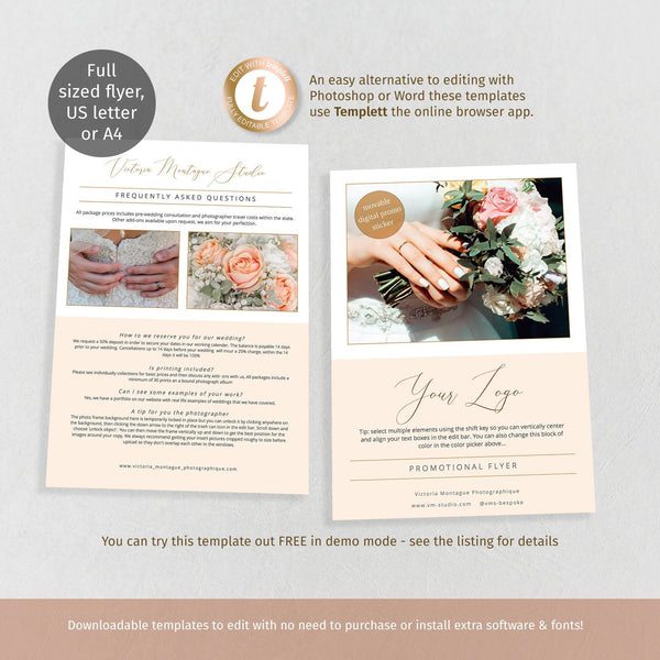 FAQ flyer template, full page wedding, florist or photographer promo