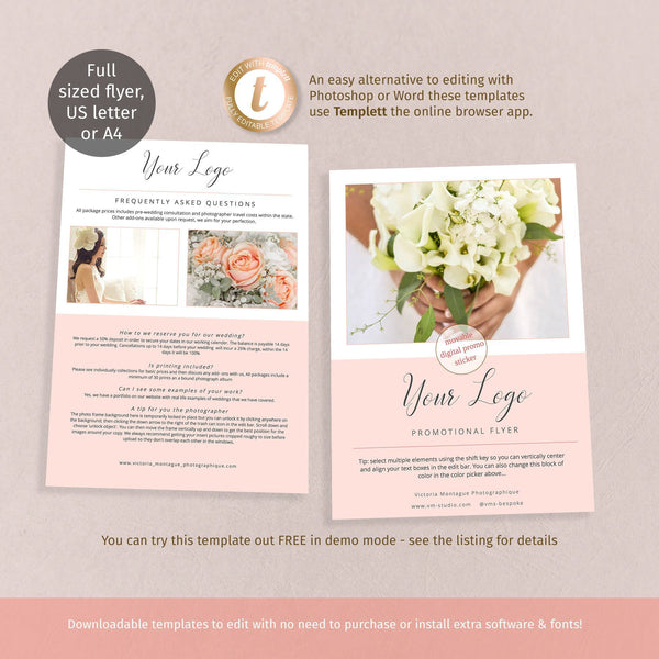 FAQ flyer template, diy customer information sheet for small business