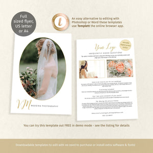 Full page wedding photographer promotion card, oval frame, 2 sided printable page