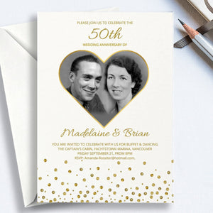 50th wedding anniversary invitation template with golden glitter