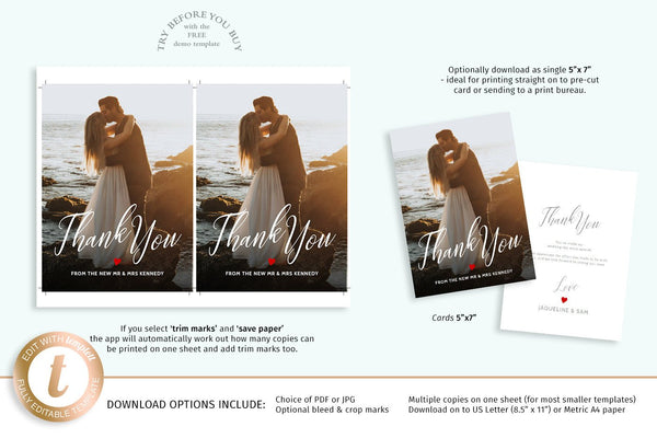 Newly wed couple thank you photo card template, 2 sided printable 5x7 wedding guest thanks note, change color of heart