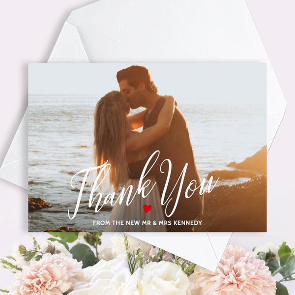 Printable wedding couple thank you photo card template, 2 sided 7x5 inch guest thanks note, change color of heart