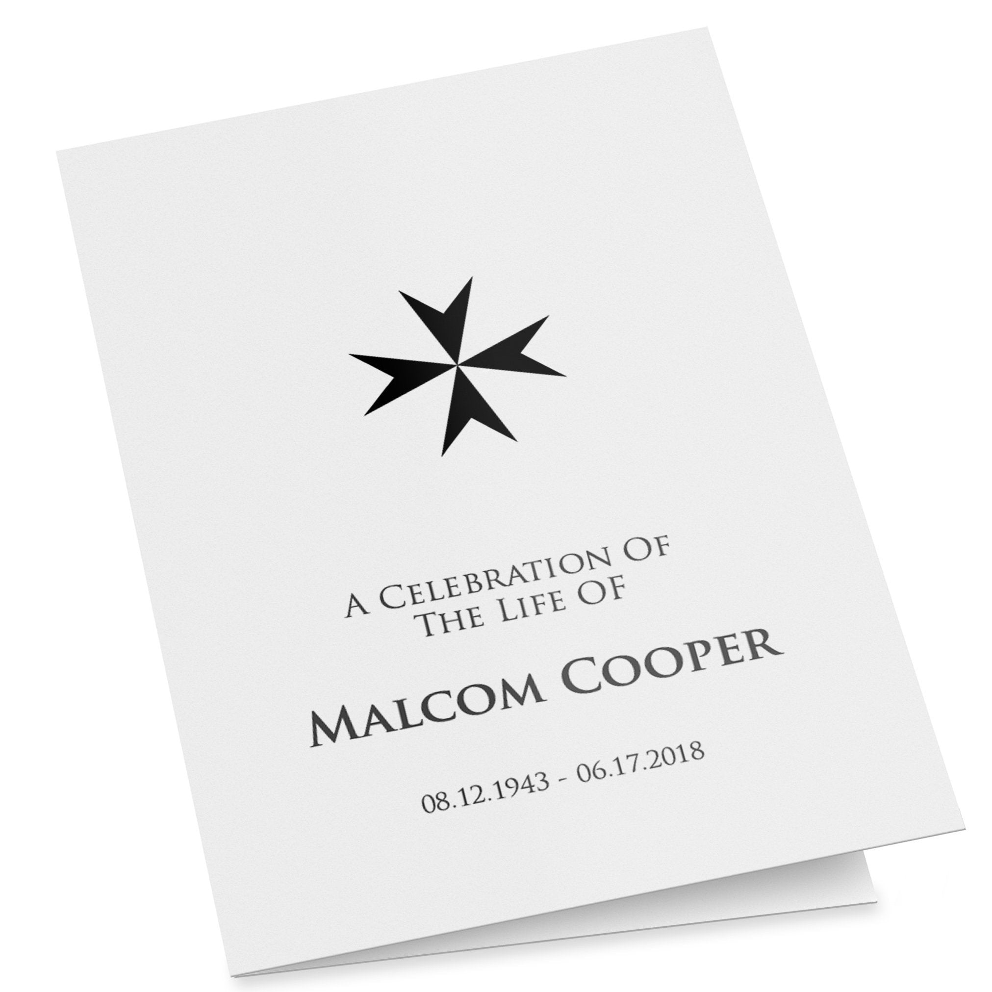 A fully editable folding funeral program with a Maltese Cross, easy to customise, folded order of service template