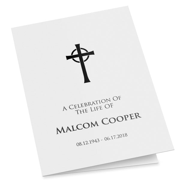 A folding funeral program with a Celtic Cross, easy to customise and edit, folded order of service template