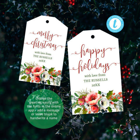 Festive printable gift tags, beautiful Nordic bouquet, 2 sizes