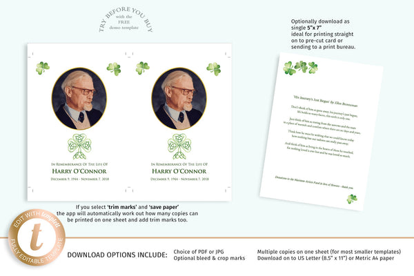 Printable Irish funeral memory keepsake card, easy to edit, green shamrocks