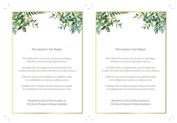 Gold & greenery funeral memory or prayer keepsake card, easy to edit template, DIY memorial program