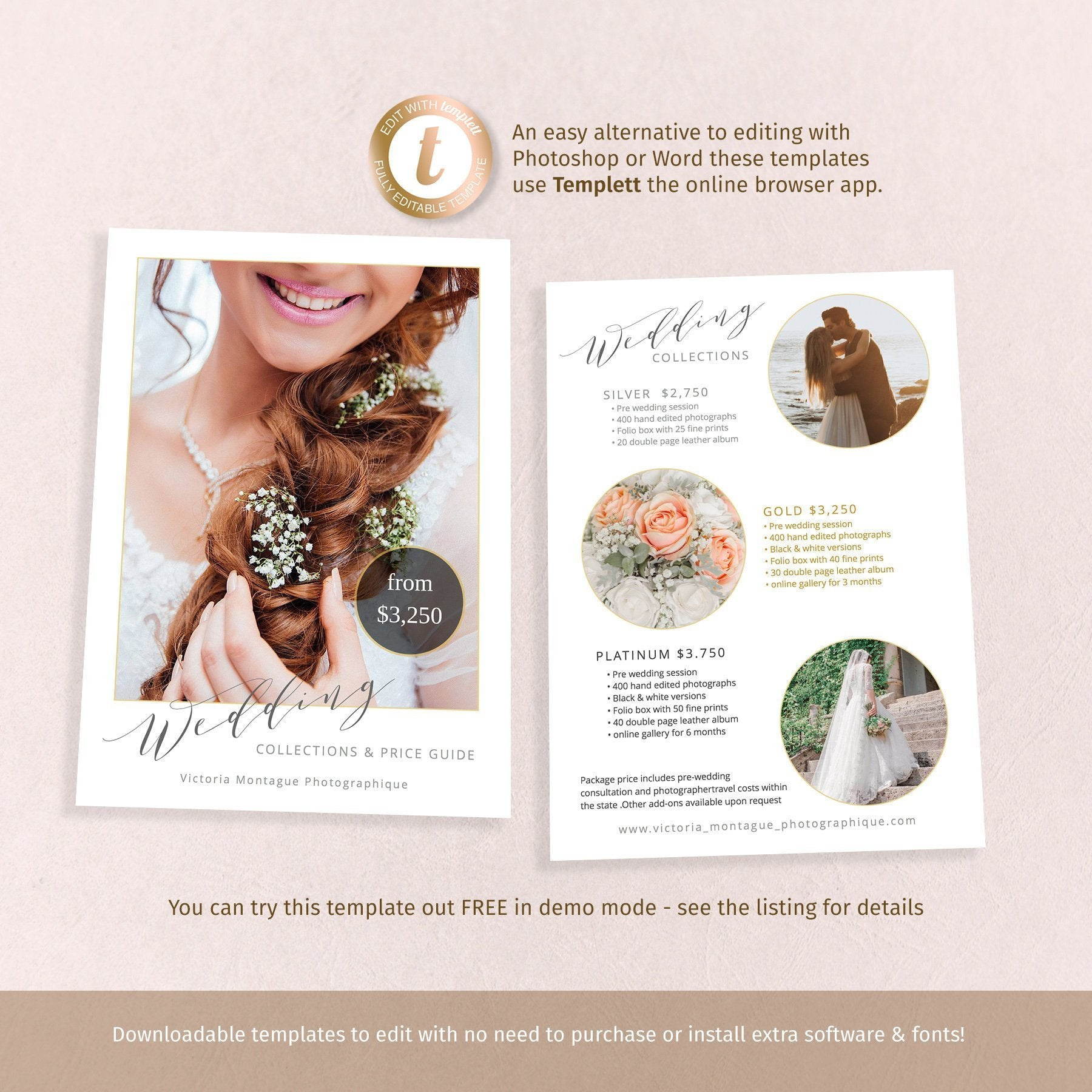 Wedding photographer price guide flyer, two sided 7x5 template, easy to customise online with Templett