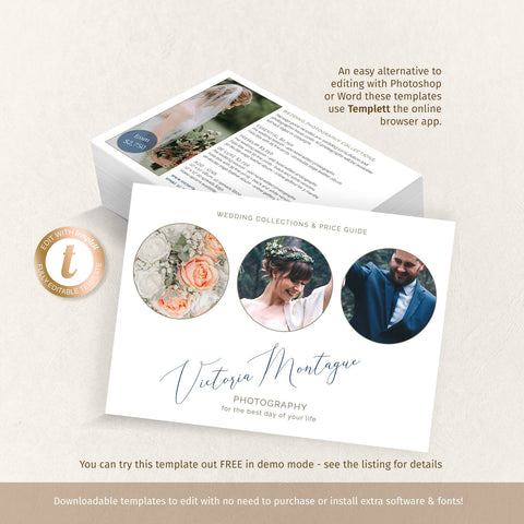Elegant price list flyer for wedding photography business, 2 sided landscape 5x7 brochure template, edit online