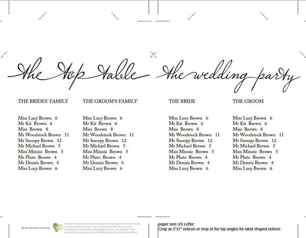 "Alphabetical wedding seating chart, printable find your table sign, 5x7"" single table & top table card"
