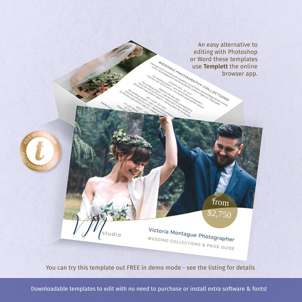 Price guide flyer template, informal curved photo border, wedding photography marketing card