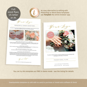 Full page FAQ flyer template for photographer promo, printable marketing page
