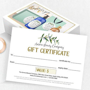 Gift certificate printable template, cosmetics spa and hairdresser business, green olive leaf
